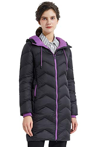 Orolay Women's Packable Down Jacket Light Winter Coat Contrast Hooded Puffer JacketPirate Black L