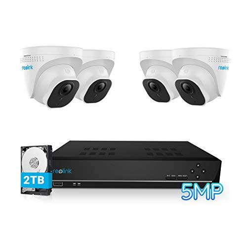 Reolink 8CH 5MP Überwachungskamera Set Aussen, Videoüberwachung mit 4X 5MP PoE IP Kamera und 4K 2TB HDD NVR für 24/7 Aufnahme Innen, IP66 Wetterfest, 30 Meter Nachtsicht mit Audio, RLK8-520D4-5MP