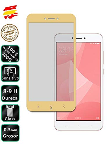 Movilrey Protector para Xiaomi Redmi 4X Color Dorado Completo 3D Cristal Templado de Pantalla Vidrio Curvo para movil
