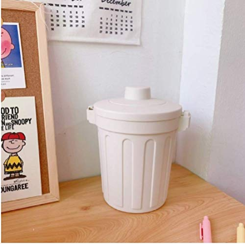 ZKCXIM Nordic Style Mini Desktop Multifunctional Trash can Home car Storage Bin Accessories Cover Trash can Living Room Office can own dyi