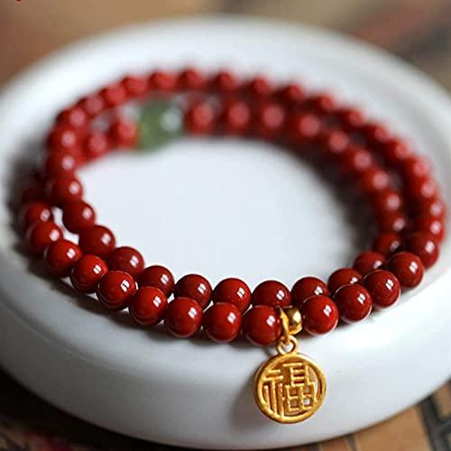 KEEBON Feng Shui Pulsera Natural Cinnabar Hecho a Mano Hetian Jade Gold Lucky Word Small Lucky Brand Dos Círculo Pulseras Encantador Rojo Lucky Fortune para Hombres Mujeres