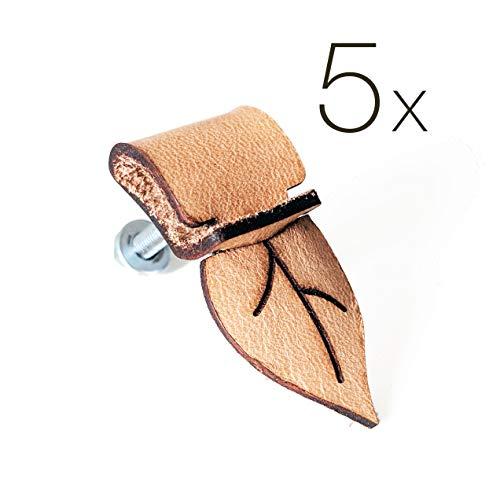 5 tiradores de piel auténtica para bricolaje, diseño de hojas, para cajones, archivadores, armarios y artículos hechos a mano, mango de piel vintage