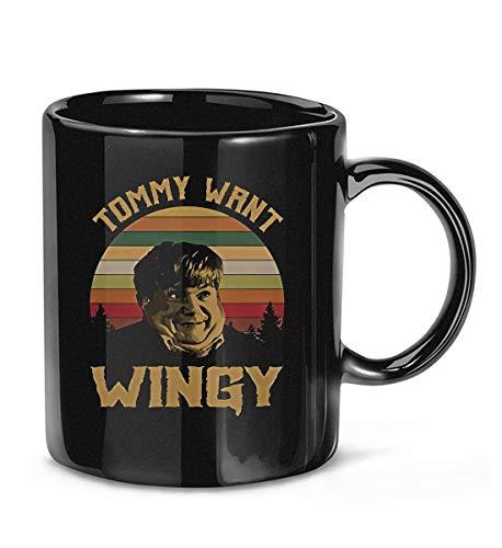 Taza de cafe con texto en ingles \Tommy #Want WINGY\