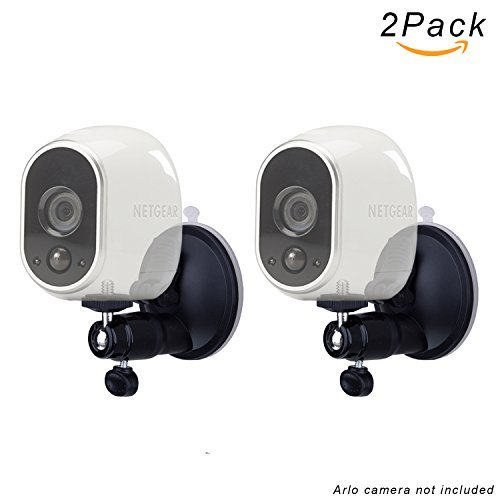 FIZZE Smart Security Suction Cup Mount For Netgear Arlo Camera - Adjustable Indoor Outdoor Mount for Arlo Pro or CCTV or DVR Have Same Interface - 2Pack Black