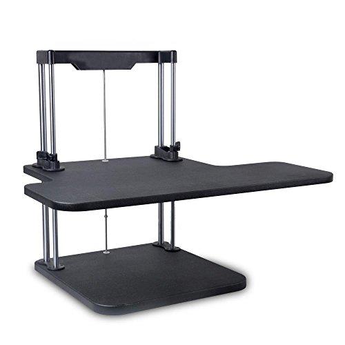Pyle Sit Stand Desk | Height Adjustable Stand Up Desk | Computer/Laptop Stand Up Computer Workstation W/ 2 Adjustable Shelf Trays | Free Standing Desk - Black Finish (PSTNDDSK38)