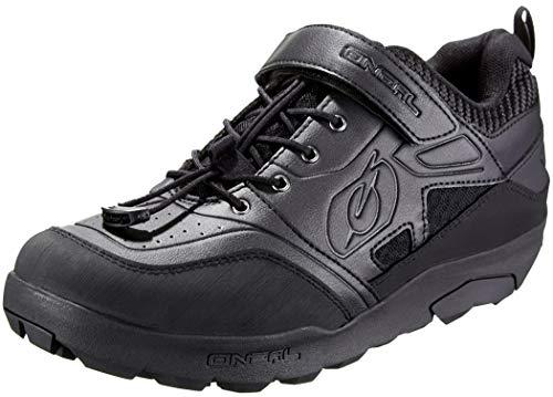 O'NEAL | Fahrrad-Schuh | Mountainbike MTB DH FR Downhill Freeride | Hoher Grip, Schnellschnürsystem für perfekte Passform, Mesh-Belüftung | Traverse Flat Shoe | Erwachsene | Schwarz | Größe 43