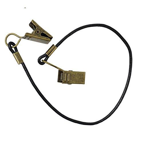 Black Outdoor Hat Scarf Wind Lanyard Rope Cord & Bronze Metal Clip