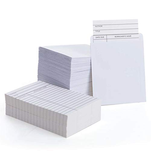 KARRES (100 Packs) Self Adhesive White Library Cards (with Book Pockets) 3.5 x 4.5 inches Library Pockets, Library Card Holder, Book Cards for Public Library Record Keeping & Tracking, Books Borrowing