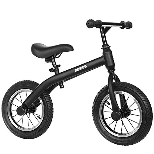 HLEZ Bicicleta De Equilibrio De 12 Pulgadas Liviana Sin Pedales Correpasillos para Equilibrio Sillín Regulable con Ruedas De Goma EVA para Niños De 2 Años,Negro