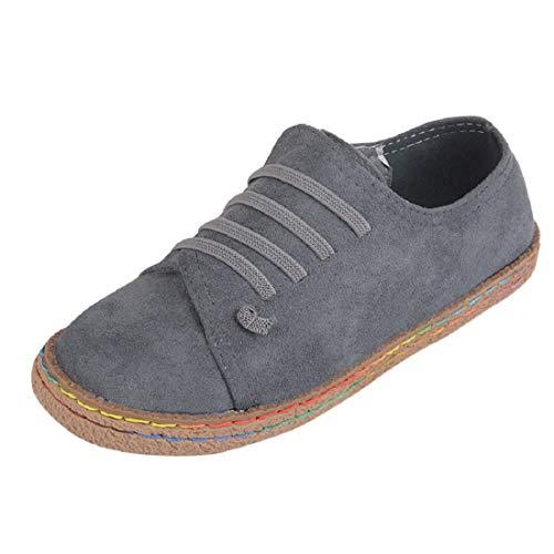 Yesmile Zapatos de mujer❤️Zapatos Planos de Mujer de Las señoras Suaves del Tobillo Zapatos de Mujer de Las Botas de Gamuza con Cordones de Cuero Casual Planos Loafers zapatos mujer deportivos