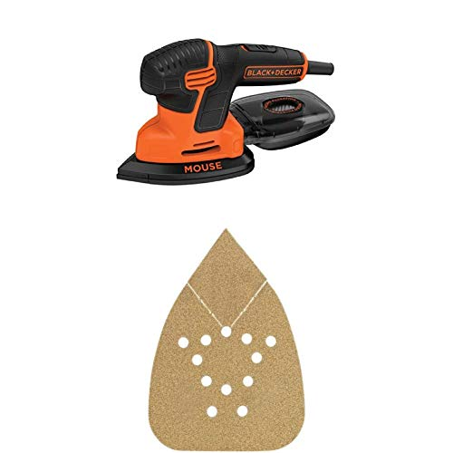 BLACK+DECKER BDEMS600 Mouse Detail Sander with BDAMX Mouse Assorted Sandpaper, 12-Pack