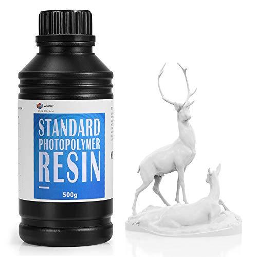 WEISTEK 3D Resin UV 405nm Resin High Precision Rapid Photopolymer Resin with Low Odor for LCD 3D Printer,500g(White)