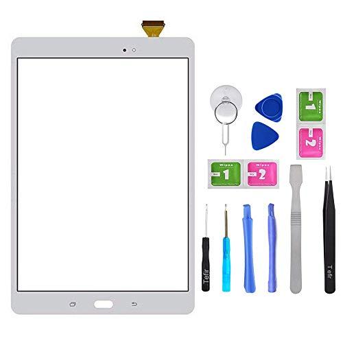 Tefir Blanco Pantalla táctil de Cristal para Samsung Galaxy Tab A 9.7' SM-T550 SM-T555 T550 T555 (sin LCD) con Adhesivo y Herramientas