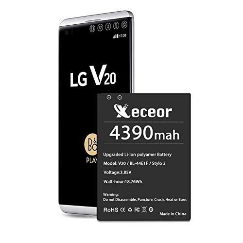LG V20 Battery,[4390mAh] Upgraded BL-44E1F High Capacity 0 Cycle Battery Replacement for H910 H918 LS997 US996 VS995, BL-44E1F/V20 Spare Battery - 2 Years Service