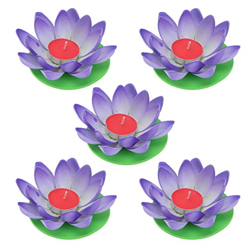 OSALADI Pack of 5 Lotus Candle Happy Birthday Candles Floating Lotus Light Wish Lantern Lily Flower Lamp for Festival Pool Garden Home Decoration (Blue with Candle)