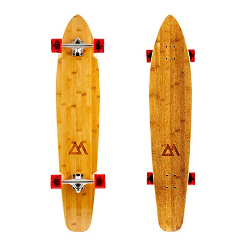 Magneto 44 inch Kicktail Cruiser Longboard Skateboard | Bamboo and Hard Maple Deck | Made for Adults, Teens, and Kids … (Red)