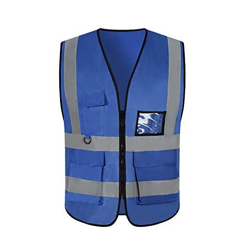 Safety Vests DBL Chaleco reflectante de seguridad azul Ropa de trabajo liviana y transpirable con múltiples bolsillos Viaje por la noche Seguridad Chaleco de alta visibilidad chalecos de seguridad
