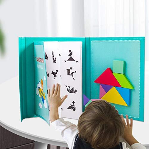 Puzzle en Bois Blocs Tangrams Magnétique Enfant Blocs en Bois Puzzles Géométrique Forme De Manipulation Puzzle Montessori Tangram Jouets Educatifs pour Enfants