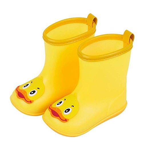 Kinder Jungen Mädchen Regenstiefel Gummistiefel wasserdichte Cute Duck Regenstiefel Kurzschaft Unisex Schuhe Rain Shoes Warm Boots Schadstofffreie Kinder-Gummistiefel (Gelb, 16)