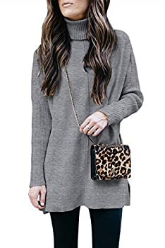 MEROKEETY Womens Turtleneck Tunic Sweater Casual Long Sleeve Ribbed Knit Pullover Jumper Tops Gray S
