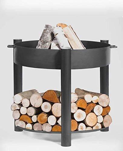 BlackOrange - Recipiente para hoguera (diámetro 70 cm, altura 80 cm, con bandeja de madera)