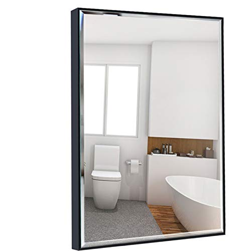 Calenzana 22x30 Wall Mirror with Black Frame, Explosion-Proof Beveled Hanging Mirrors for -