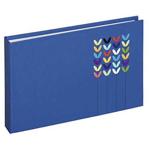 Hama Mini album photo vierge à pochettes Blossom (album format 17,5 cm x 12 cm, 24 pages, 24 photos au format 10 cm x 15 cm, idéal pour un cadeau, insertion des photos par le haut) Bleu