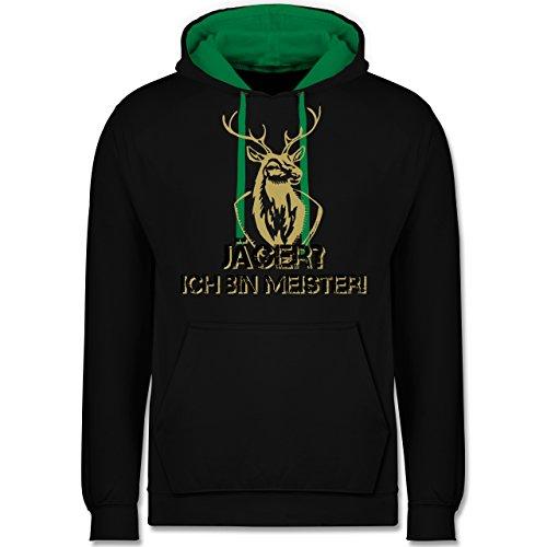 Après Ski - Jäger? Ich Bin Meister! - L - Schwarz/Grün - JH003 - Hoodie zweifarbig und Kapuzenpullover für Herren und Damen