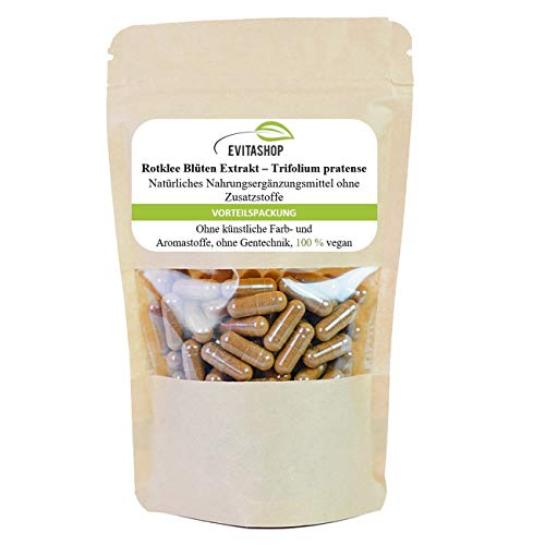 Rotklee Extrakt Kapseln (Wiesenklee/Trifolium) | 10:1-Extrakt | Reich an Isoflavonen (42 mg/Kapsel), pflanzlichen Östrogenen und Phytoöstrogenen | 1 Packung = 60 x 400 mg – Vegane Kapseln