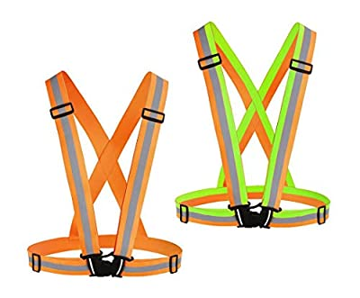Chiwo Reflective Vest Running Gear 2Pack, High Visibility Adjustable Safety Vest for Night Cycling,Hiking, Jogging,Dog Walking(Color Ornage)