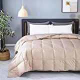 KumiQ Lightweight 100% White Goose Down Blanket Comforter Duvet for Summer,Machine Washable,Soft Down-Proof Cotton Shell with No Sound,750+Fill Power,Coffee Golden,Queen Size