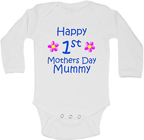 Body à manches longues pour bébé avec inscription « Happy First Mother's Day Mummy » - Pour garçon - Blanc - 18-24 mois