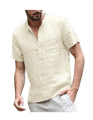 COOFANDY Sommerhemden Herren Kurzarm Stehkragen aus Baumwolle Sommer Casual Leicht Freizeit Leinenshirts für Männer Beige L