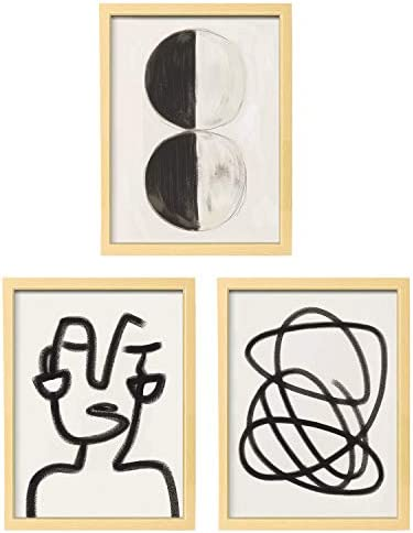 ArtbyHannah 3 Pack 12x16 Inch Framed Minimalist Line Abstract Wall Art Picture Frame Collage product image