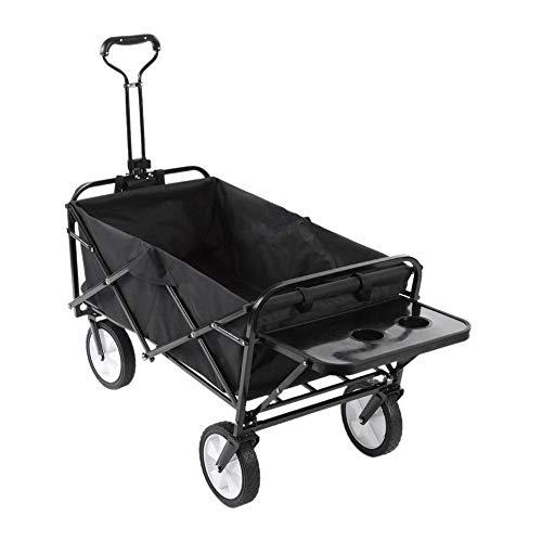 EBTOOLS transportkar voor de tuin, inklapbaar, handwagen, knutselen, tuinhanger, maximale belasting 70 kg, transportwagen met 4 wielen, voor tuin, camping, zwart