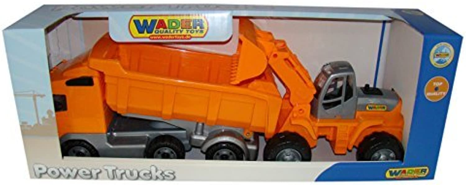 Wader Quality toys PoweTruck Dump Truck Loader Combo Vehicle by Wader Quality Toys