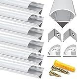 Profilo in Alluminio, Jirvyuk 6 Pack 1m/3.3ft Profilo LED V-Shape per per Striscia a led, ...