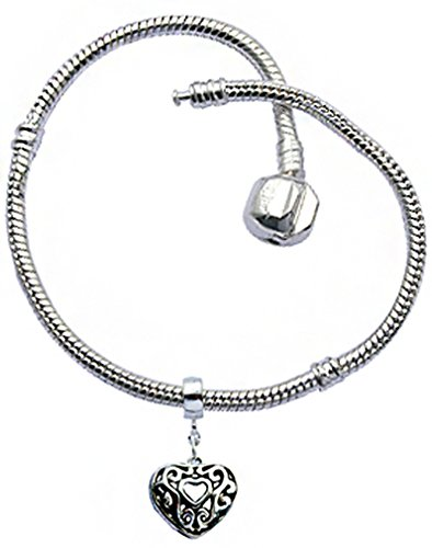 Trending Jewels Silver Plated Snake Chain Charm Bracelets - Comes with a Filigree Heart Charm - Various Sizes- Compatible for All European Charms.