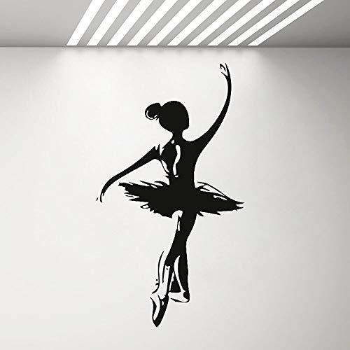 wopiaol Wandkunst Aufkleber Gold Home Decoration Ballett Mädchen Muster Tanz Pointe Schuhe Ballett 57X101 cm