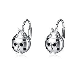 Ladybug Dangle earring In Sterling Silver With Rhinestone