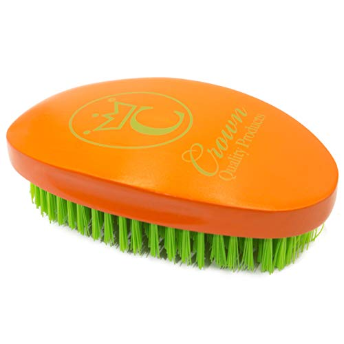 "NEW Crown Quality Products Limited Edition - Apricot Orange – Neon Green logo - MEDIUM BRISTLE Contour Wave Brush - ""THE ORIGINAL"" Curved Wave Brush - 360 Waves in Days"