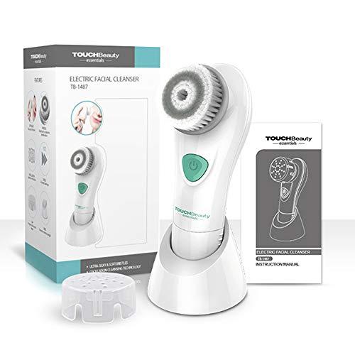 Cepillo Limpiador Facial TOUCHBeauty Limpieza Facial Electrico Vibratorio Con Intensidades de 2 Velocidades y Cubierta Protectora, Sin Batería