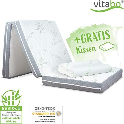 Vitabo Klappmatratze Gästebett mit weichem Bambusbezug + Kopfkissen I 3-teilige Faltmatratze Gästematratze faltbar klappbar | auch als Campingbett (195x70x10cm)