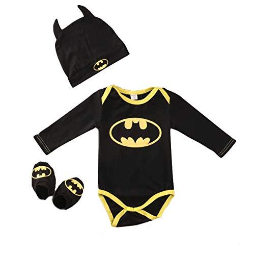 Ensemble 3 pièces pour nouveau-né garçon avec barboteuse, chaussures et chapeau Batman - Jaune - 0-6 mois