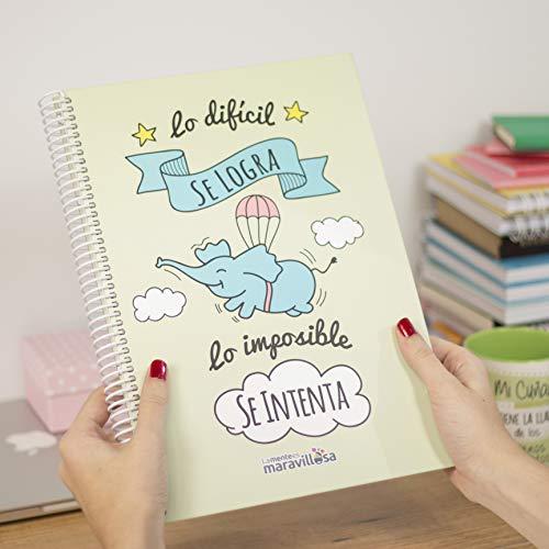 La Mente es Maravillosa - Cuaderno A4 (Lo difícil se logra, lo imposible se intenta) Regalo practico con dibujos graciosos (Diseño Cerdifante)
