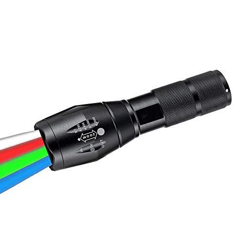 Linterna LED 4 en 1 con luz Roja, Verde, Blanca y Azul, WESLITE Linterna Multicolor de Señalización para Carretera con Zoom para Astronomía al Aire Libre Senderismo con Visión Nocturna (4 Colores)