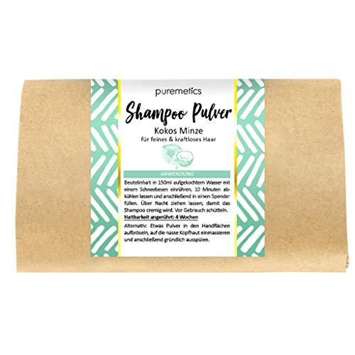 puremetics Champú Zero Waste en polvo 'Coco Minze', para cabello fino y sin fuerza, vegano y sin plástico, sin siliconas, parabenos, microplásticos y aceite de palma