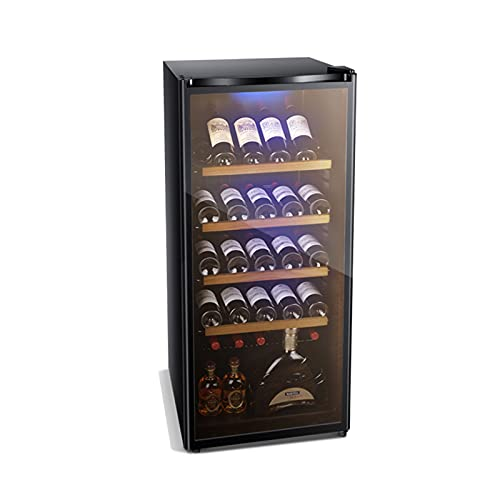 MIAOYO Operación Silenciosa Wine Cooler,Mini Refrigerador De Vino,Vinoteca con Puerta De Cristal,Bebida Vinoteca, Cerveza Soda Bebida Pequeña,Negro,54.5x58.1x124cm