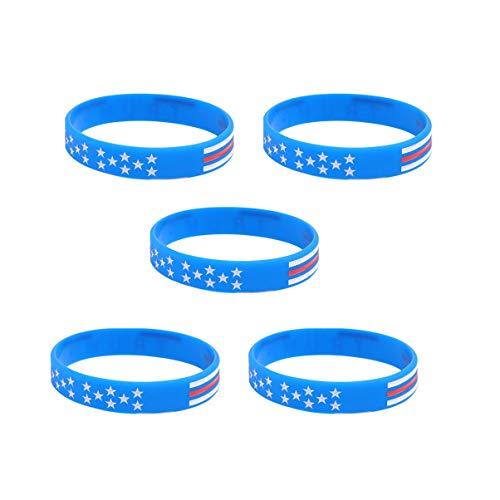 Amosfun 5 pulseras de silicona Trump 2020, inspiradoras y motivadoras, color azul, 10 cm