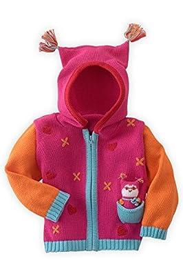 Joobles Organic Baby Cardigan Sweater - Jody The Owl (0-6 Months) Pink